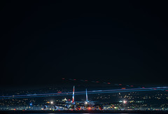 british airways and air france on long hold for takeoff (pbo31) Tags: bayarea california sanmateocounty night dark black nikon d810 color september 2019 boury pbo31 sanfranciscointernational sfo burlingame aviation airline runway plane flight departure airport travel lightstream motion traffic taxi britishairways airbus a380 airfrance boeing 777 delay holding
