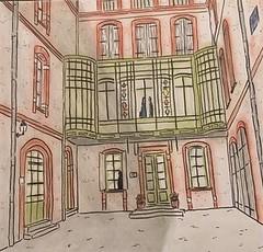 Oriel en structure métalique rue Antonin Mercié Toulouse. (J-M.I) Tags: aquarelle art house architecture haute garonne 31 toulouse watercolour dessin illustration graphisme exposition crayons encre