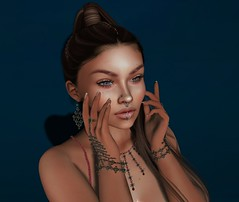 .401 (Mayelai Neisser) Tags: second life sl secondlife avatar virtual pixel post blog photograph art fash fashion woman female girl 3d jewelery elegant sensual face head mesh meva bracelet earring necklace pendant fameshed