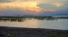 Lake's peace at sunset (Chemose) Tags: sony ilce7m2 alpha7ii mai may pérou peru lactiticaca laketiticaca hdr landscape paysage rive shore bank water eau sunset coucherdesoleil cloud nuage lumière light roseau plage beach reed lac lake titicaca