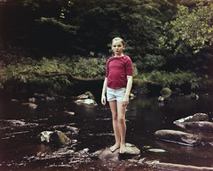Maia, Hardcastle Crags, 2014 (BennehBoy) Tags: 000417 speedgraphic 4x5 graflex largeformat fujifilm 160ns homedev digibase exhausteddeveloper river steppingstones kid