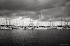 Stralsund, Hafen - Yachthafen (tom-schulz) Tags: ricoh grii monochrom bw sw stralsund thomasschulz hafen yachthafen segelboot wasser wellen himmel wolken