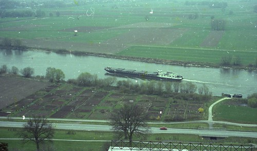 German freight barge on the Danube river , from Valhalla balcony.