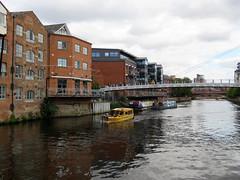 River Aire, Leeds 2019 (Dave_Johnson) Tags: riveraire river aire leedsriver water leedstaxi rivertaxi taxi boat narrowboat barge centenarybridge centenary bridge footbridge