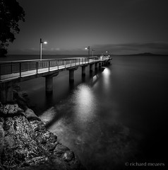 light and water (Richard Meares) Tags: pier wharf rocks wet light night reflection reflections rangitoto water ocean peace tranquil bw