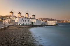 Old Windmills in Chora at Sunrise, Mykonos, Greece (ansharphoto) Tags: aegean architectural architecture beach blue building chora city cityscape coast culture cyclades destination europe famous greece greek harbor harbour hill history holiday house iconic island landmark landscape mediterranean mikonos mill monument morning mykonos pebble sea skyline sunrise tourism town traditional travel urban vacation view village water white whitewashed wind windmill