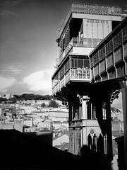 Elevador (marc.barrot) Tags: miraduro shotoniphone monochrome lisbon portugal 1100 lisboa rossio elevadordesantajusta
