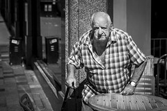 Take A Seat (Leanne Boulton) Tags: urban street candid portrait streetphotography candidstreetphotography candidportrait streetportrait eyecontact candideyecontact streetlife sociallandscape old elderly man male face eyes expression emotion mood feeling cafe coffeeshop sitting table seat tone texture detail depthoffield bokeh naturallight outdoor sunlight light shade shadow city scene human life living humanity society culture lifestyle people canon canon5dmkiii 70mm ef2470mmf28liiusm black white blackwhite bw mono blackandwhite monochrome glasgow scotland uk