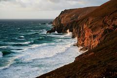 Stormy evening (chairman.bill) Tags: stormy wind waves coast sea ocean atlantic cornwall cliffs evening light