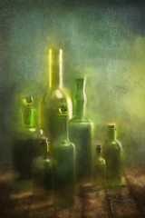 Waldglas (Ephorea) Tags: glas glass glassware waldglas bottle flasche green blue yellow wood metal bark texture structure brush shine light shadow reflection interior decoration stilllife impression shimmer gleam glimmer ray blur blurred diffuse