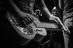 Resonator (tim.perdue) Tags: black white bw monochrome nikon d5600 nikkor1680mm blackandwhite mono reissues band wide open spaces dixie chicks tribute concert thirty one west 31 newark ohio performance hall venue stage light shadow music country musician western bluegrass performer person figure man woman musical instrument resonator national guitar dobro steel