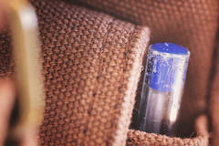 Use with caution (cazadordesueños) Tags: backpack pen pocket strap buckle bokeh dof macro stilllife ink writting