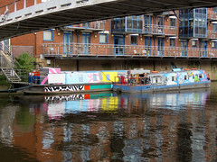 River Aire, Leeds 2019 (Dave_Johnson) Tags: riveraire river aire leedsriver water narrowboat boat barge