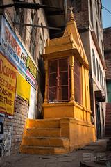 Yellow Shrine (shapeshift) Tags: in alley alleys alleyways architecture asia banares benaras davidpham davidphamsf documentary india shapeshift shapeshiftphoto shrine southasia steps streetphotography temple travel uttarpradesh varanasi yellow