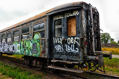 Graffiti express. (wimjee) Tags: nikond7200 nikon d7200 afsdx1680mmf284eedvr decayed urban abandoned decay vervallen verlaten urbex train trein graffiti niksoftware colorefexpro4