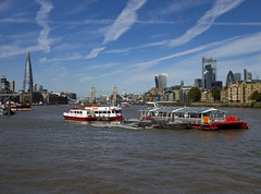 The Shard, Tower Bridge, St Pauls & The City from Rotherhithe (London Less Travelled) Tags: uk unitedkingdom britain england london southlondon bermondsey rotherhithe southwark city urban river thames boat barge building shard towerbridge stpauls skyline vista sky