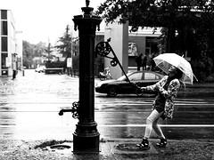 Regenwetter, na und! Es kann so viel Spaß bereiten. (ingrid eulenfan) Tags: leipzig strasse regen monochrome schw blackandwhite regenschirm sonyalpha6000 sigma30mmf14 30mm rain regenschirmshooting