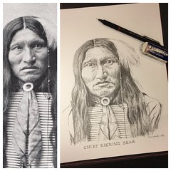 Chief Kicking Bear (schunky_monkey) Tags: portrait illustration art drawing draw graphite sketchbook sketching sketch pencil nativepeople honor leader kickingbear chief indigenous nativeamerican
