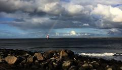 the rainbow and the lighthouse (Renate R) Tags: rainbow lighthouse sea ostsee warnemünde