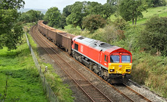 A Red One At Malham Road. (Neil Harvey 156) Tags: railway 66094 hellifieldpond malhamroad hellifield gypsumtrain 6e97 class66 dbschenker dbcargo shed