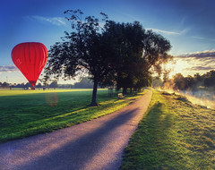 Misty morning Balloon ride (seantindale) Tags: warwick warwickshire uk hotairballoon misty morning sunrise lightburst olympus omdem1markii
