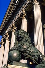Parliament, Madrid, Spain (Manuel ROMARIS) Tags: nikonscanner madrid parliament statue cortes lion
