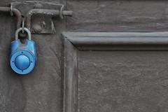 blue lock - gray door (remiklitsch) Tags: miksang remiklitsch leica street urban garage la blue gray bluelock graydoor