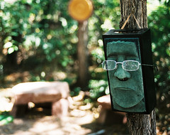 Why the long face? (david slauson) Tags: public art face sculpture bokeh park olympus om4 film glasses spectacles frown grimace green