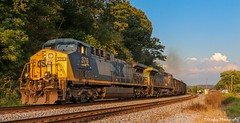 LOH1-12 heading east by Yuma, VA on the NS Appalachia District. (Railroad Gal) Tags: csx376 yn2 t09112 loh112 norfolksouthernappalachiadistrict nsappalachiadistrict yumava railroad railfan femalerailfan csxt ac4400cw ge generalelectric diesellocomotives coaltrain appalachianmountains goldenhour