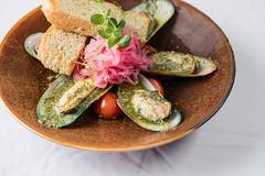 "Green shell mussels ""escargot style"""