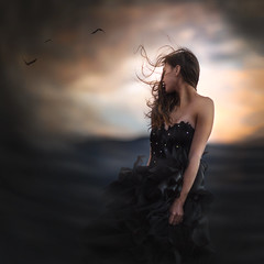 Away ({jessica drossin}) Tags: jessicadrossin woman wwwjessicadrossincom face portrait sunset sky birds hair wind