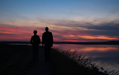 Then There Were 2 (music_man800) Tags: south fambridge river crouch sea wall dyke essex united kingdom sunset sun set evening sunny clouds shapes silhouette bright light lighting spectacular pretty dusk golden hour blue purple pink orange people shape outlines grass field landscape scenery nature natural august summer night 2019 canon 700d adobe lightroom creative cloud edit photography arty artistic person humans outdoors outside walk hike two