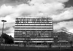 Stop. (ericgrhs) Tags: berlin alexanderplatz ostberlin karlmarxallee architecture building decay bw