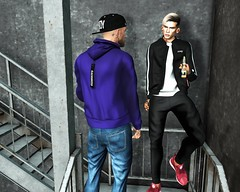 ☠ BROTHERS (Shock Q'Kell) Tags: galvanized sale50 50 coat sweater andore ears kuni hair slhair amias rings volkstone hairbase eyebrown bleich shoes snackers bloggers slbloggers lelutka head bento mesh guy picture slpicture photo moda male boy style fashion sl secondlife