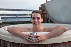 Back in the hot tub again. (M///S///H) Tags: rx1 brunette gf hottub kelly outside pointandshoot smile smiling sonyrx1 spa woman