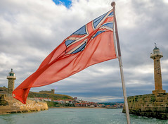 SJ2_2046 - Whitby farewell (SWJuk) Tags: swjuk uk unitedkingdom gb britain england yorkshire northyorkshire yorkshirecoast whitby whitbyharbour harbour water lighthouse flag summerqueen hireboat bluesky clouds 2019 sep2019 autumn holidays nikon d7200 nikond7200 nikkor1755mmf28 rawnef lightroomclassiccc