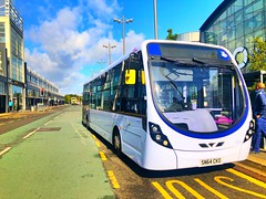 Photo of First WestLothian (SN64 CKO - 63243) is operating the X23 to Edinburgh, seen here at Livingston Centre.
