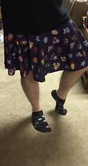 Avengers skirt and ankle socks (devistating) Tags: men man feet foot noshow ankle socks dots gray black white purple skirt avengers