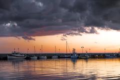 Sunset on the Baltic (bożenabożena) Tags: landscape sea baltic sunset sky clouds september water poland kuźnica boats krajobraz morze bałtyk zachódsłońca chmury niebo wrzesień woda polska łodzie canon80d fishingport