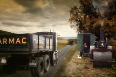Sentinel Steam lorry (brian_stoddart) Tags: transport lorry engine steam composite recreation caravan road countryside sky clouds colours