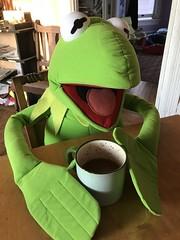 Kermit drinking coffee (artnoose) Tags: coffee frog kermit green
