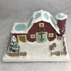 ORIGINAL Red and Turquoise Putz Barn (christmasnotebook) Tags: barn christmasvillage vintagestyle papercraft putz cardboardhouse papercrafting cardboardvillage glitterhouse putzvillage christmasnotebookcom christmasputz littleglitterhouse 062418 wwwetsycomshopchristmasnotebook putzbarn