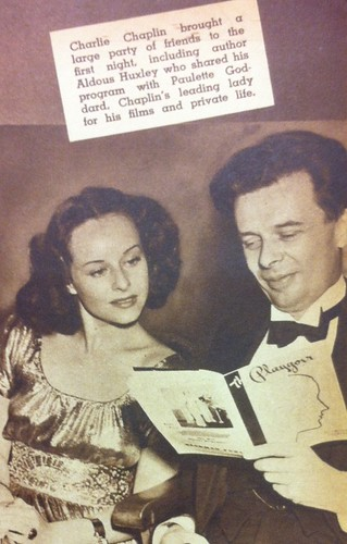 Paulette Goddard & Aldous Huxley, Movie Life November 1937