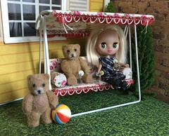 "BaD ""Bear"" Sept 13, 2019 (Foxy Belle) Tags: blythe bear petite pet shop littlest lundby carolines home brick grass trees ball day september 13 2019 bad doll miniature dollhouse"
