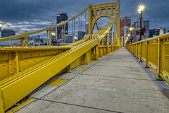 Pics from Pittsburgh #5 (tquist24) Tags: andywarholbridge hdr hff nikon nikond5300 outdoor pennsylvania pittsburgh city cityscape clouds cloudy downtown fence geotagged lights morning outside sidewalk sky suspensionbridge urban yellow