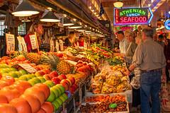 Fruit Market (markburkhardt) Tags: pikes fish market seattle fruit farmers people shopping