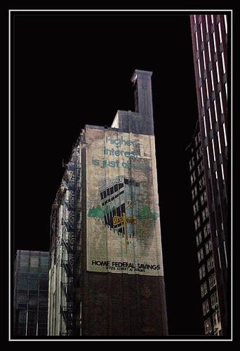 Chicago Ilinois - Printers Row - Ghost Sign - Home Federal Savings  -