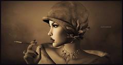 Anything Goes (Moxxie Kalinakova) Tags: sepia headshot portrait smoking retro vintage beauty elegant class classy