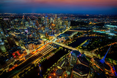 Top view of Melbourne city (anekphoto) Tags: bar windoes outdoor night city education travel train helicopter view urban hotel riverside buildings exterior lights sunset river yarra building top modern street station park bridge state victoria evening skyscraper downtown australia sky architecture melbourne landmark cityscape twilight skyline tourism dusk southbank dawn illuminated panorama flinders water reflection cbd tower