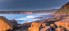 Rocky Shore Panorama Seascape (Merrillie) Tags: holidays natural sunrise merimbula nature australia newsouthwales sea sapphirecoast nsw shorescape ocean rocky rocks shortpoint coastal colours sky seascape colourful begavalleyshire landscape coast